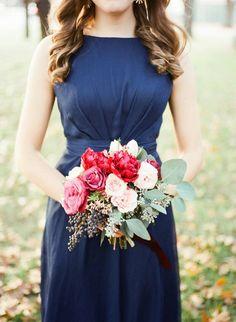 marsala and white wedding bouquet  wedding bouquet with greenery  red and white wedding bouquet  navy bridesmaid dress