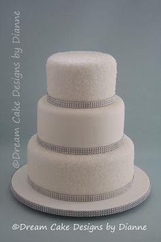 'KIRSTY' ~ All white wedding cake with sugar sparkles and diamante trim All White Wedding, Our Wedding, Small Intimate Wedding, Dream Cake, Centre Pieces, Wedding Gallery, Celebration Cakes, Celebrity Weddings, Cake Designs