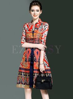 Shop for high quality Retro Floral Print Stand Collar Skater Dress online at cheap prices and discover fashion at Ezpopsy.com