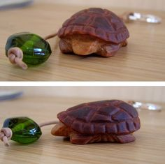 Unique hand-crafted, turtle keychain. Truly beautiful / forest colours / natural materials. Excellent for nature lovers.  The turtle has been