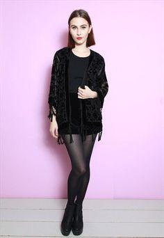 Vintage Style Black Flocked Velvet Tassel Kimono