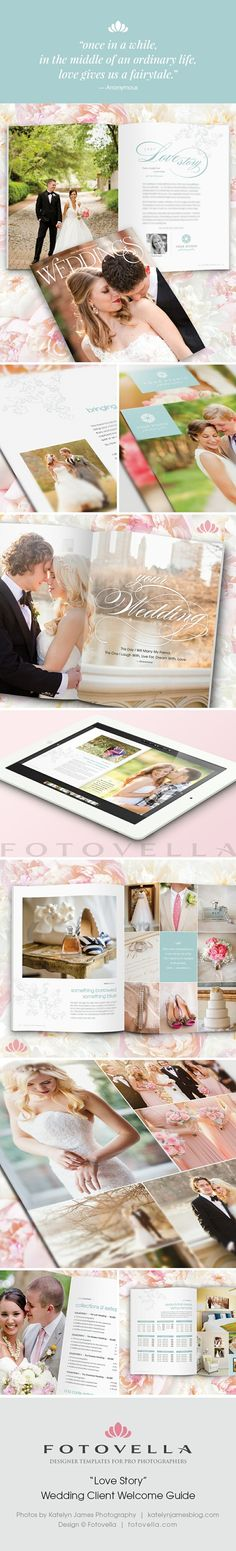 "NEW! ""Love Story"" Wedding Client Welcome Guide - Stunning magazine style 24 page designer Photoshop template for pro photographers."