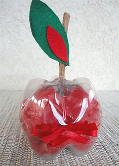 Knip twee flessenbodems uit en leg deze op elkaar. Maak een gat en prik een stokje door een van de helften. Knip een blaadje van een appel. Verzamel rode briefjes en schrijf hier complimentjes of uitspraken van de kinderen op. Vul de appel hiermee en geef deze aan de juf of meester.