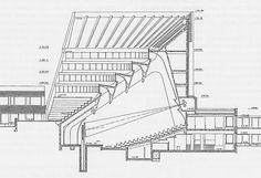 Section of the main auditorium of the main building for Helsinki University of Technology_Alvar Aalto