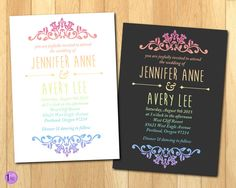 Pastel Rainbow Gradient Wedding Invitation with White or Dark Grey Background