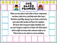 With this cute poster, the idea is that students can either write their name/sign in the boxes or draw themselves as a classroom promise activity Classroom Promise, Classroom Rules, New Classroom, Special Education Classroom, Behaviour Management, Class Management, Classroom Management, Behavior, Grade 2