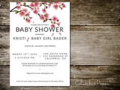 Cherry Blossom Baby Shower Invitation  Envelope by ColumbusPaper