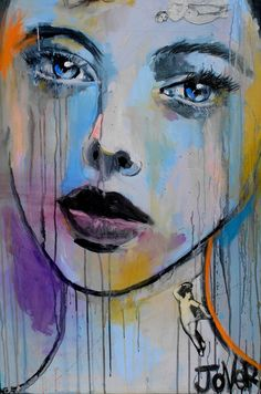 """Loui Jover; Acrylic, 2013,  """"leda (canvas)"""". This portrait contains a snapshot of a sad-looking woman with different splashes of colour dripping down their face. This type of artwork would be good if a feeling of sadness or desperation were to be portrayed."""