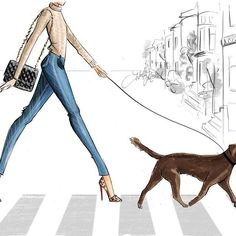 Holly Nichols Illustration - Pumps 'n Paws . Available in two skin tones and your choice of a yellow, black, or chocolate Lab.