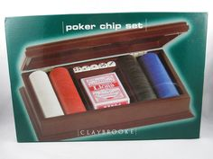 Claybrooke Poker Set - Wood Carry Case - 160 Clay Chips - 5 Dice - 2 Decks Cards