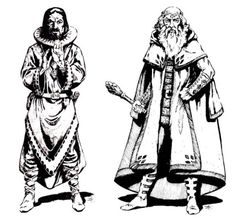 High level cleric and druid (Jeff Easley, D&D Master Players' Book, TSR, Black And White Artwork, Black And White Drawing, Fantasy Rpg, Dark Fantasy Art, Character Art, Character Design, Character Ideas, Dcc Rpg, Old Dragon