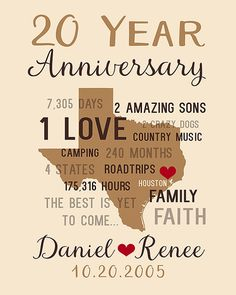 Anniversary Gifts for Men 20th Anniversary Gift by WanderingFables