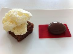Chocolate Brownie with Frozen Vanilla Air, Raspberry Gel and Chocolate Spherical