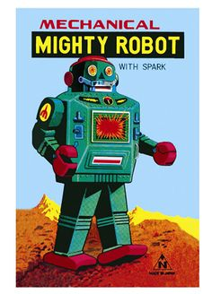 Retro Kids Posters - Mechanical Mighty Robot Poster A3 - with spark!
