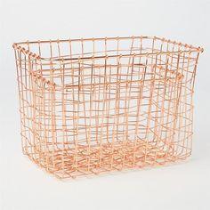 Set of 2 copper wire baskets