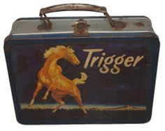 Vintage Trigger Metal Lunchbox Roy Rogers Horse Western 1950s Metal Handle Old