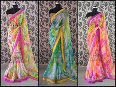 floral sarees latest