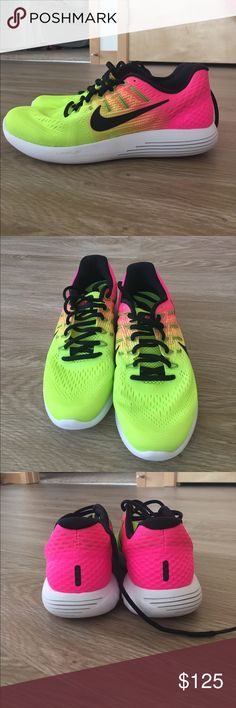 "NWT women's Nike ""lunarglide 8"" size 7.5 New with tags Nike women's size 7.5 ""lunarglide 8"" shoes. Shoes are an amazing color and are so fun Nike Shoes"