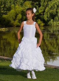 First Communion Dress - Satin Sleeveless with Layered Ruffle Skirt  www.SweetiePieCollection.com