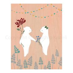 Date in the Garden  art print featuring bears by malathip on Etsy, $20.00