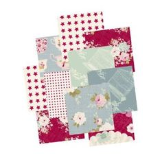 Tilda 40 Piece Fabric Charm Pack Patchwork Bundle Red 12.5 X 12.5cm Quilting Pieces Floral, Teacups, Spots, Stars in Red, Aqua Blue and Cream: Amazon.co.uk: Kitchen & Home