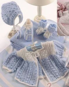 Baby Crochet Layettes Pattern Book Boy Sweater Christening Dress Gown Afghan
