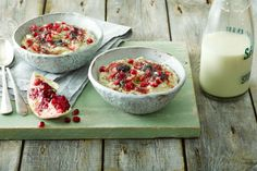 Creamy Pear Porridge with Berries and Chia Seeds