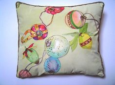 Sequinned Ornaments Pillow Hand Painted 14x16 by PAINTEDPILLOWS