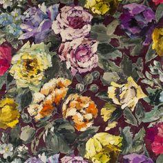 bloomsbury rose - damson fabric | Designers Guild