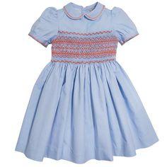f610a1e55 Pepa & Co Blue and Coral Classic Handsmocked Dress - Princess Charlotte  Dresses. Princess Charlotte Style