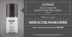 Ganhe Deo Corporal Kaiak Urbe Masculino nas compras acima de R$ 130,00, utilizando o cupom ABRACOKAIAKURBE.  Cupom válido de 18 a 23/05 para compras acima de R$ 130,00, exceto para itens promocionados, presentes, embalagens de presentes. Apenas uma vez por CPF.