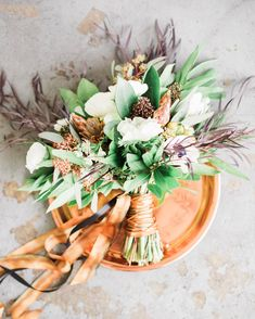 Los Angeles copper and black wedding shoot green and white floral bridal bouquet with copper ribbon on top of copper tray and grey background Trailing Bouquet, Ribbon Bouquet, Bouquet Wrap, Summer Wedding Bouquets, Floral Wedding, Wedding Flowers, Boho Wedding, Fall Wedding, Dream Wedding