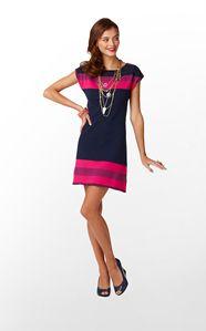 KINLEY SWEATER DRESS - TRUE NAVY TRELLACE STRIPE