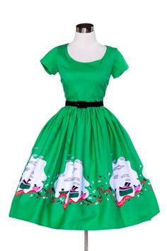Pinup Couture Mary Dress in Mary Blair Green Boat Border Print