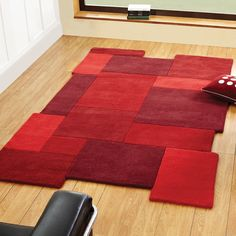 Abstract Collage Contemporary Red Beige Rug. Suitable for any room, living room rug, kitchen rug. Fabulous wool rugs