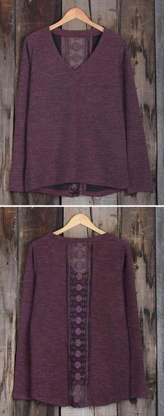 $23.99 Only with free shipping&easy return! This lace splicing top is detailed with back sheer lace&V-neck! Take this burgundy magic at Cupshe.com