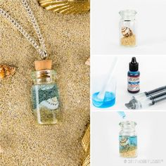 the ocean close to your heart with this sea-themed necklace! Add sand & shell bead to bottle. Mix resin & resin tint according to manufacturer's instructions. Add tinted resin with needle-nose squeeze bottle. Let cure completely before adding cork top. Bottle Jewelry, Bottle Charms, Bottle Necklace, Diy Necklace, Resin Jewelry, Seashell Necklace, Glass Bottle Crafts, Mini Glass Bottles, Small Bottles