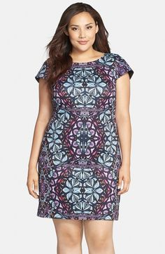 Vince Camuto Cap Sleeve Scuba Knit Sheath Dress (Plus Size) available at #Nordstrom