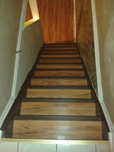 Re Did The Basement Stairs In The Same Vinyl Plank Flooring That I Used On