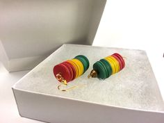 Rasta Babey Earrings: Red, Gold, and Green African Record Discs