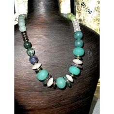 CHUNKY GEMSTONE NECKLACE, Handcrafted Chunky Beaded Gemstone Necklace,... (155 ILS) ❤ liked on Polyvore featuring jewelry, necklaces, strand necklace, i love jewelry, silver gemstone necklace, gemstone necklaces and chunky necklaces