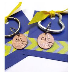 A personal favorite from my Etsy shop https://www.etsy.com/listing/262688623/hand-stamped-penny-keychain-special-date