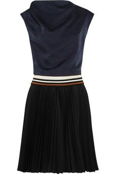 Bouchra+Jarrar+Plissiertes+Kleid+aus+Seiden-Jacquard+und+Crêpe+|+NET-A-PORTER