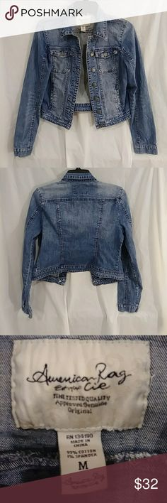 American Rag Denim Jacket Stylish American Rag Denim Jacket. Very Good Used Condition. Size is M. Pit to Pit measurement is 16 inches when buttoned. Length is 20 inches top of back collar to bottom of jacket. Please feel free to ask questions or make an offer 😊❤️ American Rag Jackets & Coats Jean Jackets