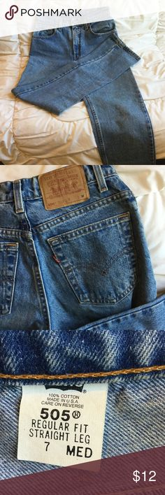 Levi's 505 straight leg jeans Levis 505's have been rodeo jeans and thus have some fading.  Organic stains on pocket lining.  No rips, tears.  Sits at waist.  Measures 14 inches across front at top, lying flat.  Leg inseam is 30 inches. Levi's Jeans Straight Leg