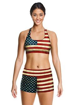 Leefi Women Yoga Retro USA Flag 3D Printing Athletic Apparel Fitness Sports Set * Check this awesome product by going to the link at the image. (This is an affiliate link)