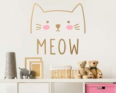 Dramatically convert the look of your living space with this cute cat wall decal, giving your walls the look of a custom paint job without any of the hassle! :) ***ITEM DETAILS*** • Decal measures approximately 18 X 17 • You can chose any two colors for your decal (the colors used in the first preview image are light pink and gold) • See 3rd preview image for available colors • Every color has a beautiful matte finish that reduces excess glare ***INCLUDED IN YOUR PURCHASE*** • Cat M...