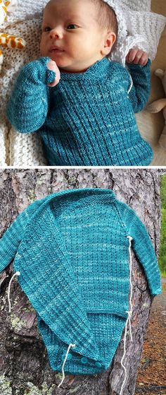 Free Knitting Pattern for Wrapover Onesie - Baby onesie knit in a 2 row repeat modified broken rib stitch with a wrap over front and buttoned crotch for easy dressing. Size 0-3 months. Designed by Nina Figenschau. Fingering weight. Available in English and Norwegian