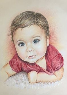 Custom Portrait Baby Family portrait Commission Personalized Gift for her Colored Pencil Portrait From Photo Kids Portrait Mothers Day Gift - drawings_pintous Portrait Sketches, Portrait Illustration, Portrait Art, Pencil Sketch Portrait, Portrait Ideas, Pencil Art Drawings, Realistic Drawings, Art Drawings Sketches, Beautiful Pencil Drawings