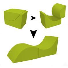 Pouf chaise longue trasformabile Cleo in ecopelle, verde - il-segreto-del-pouf